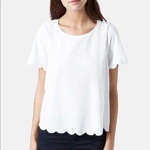 Topshop Scallop White Top